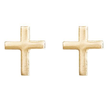 Cross Mini Studs Jewelry Helen Ficalora 14k Yellow Gold