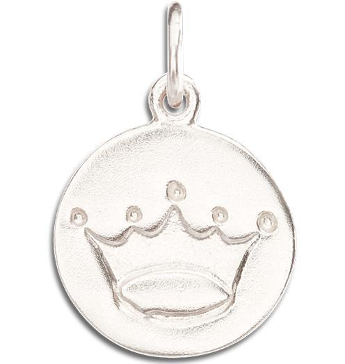 Crown Disk Charm - 14k White Gold - Jewelry - Helen Ficalora - 2