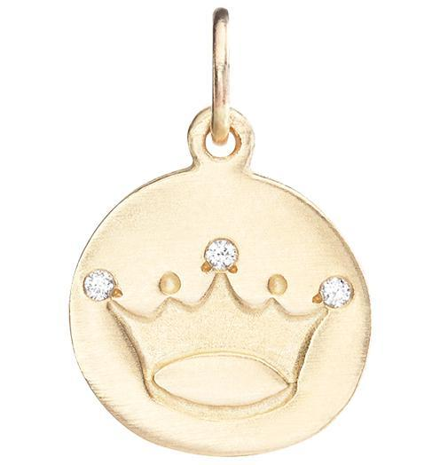 Crown Disk Charm Pave Diamonds - 14k Yellow Gold - Jewelry - Helen Ficalora - 1
