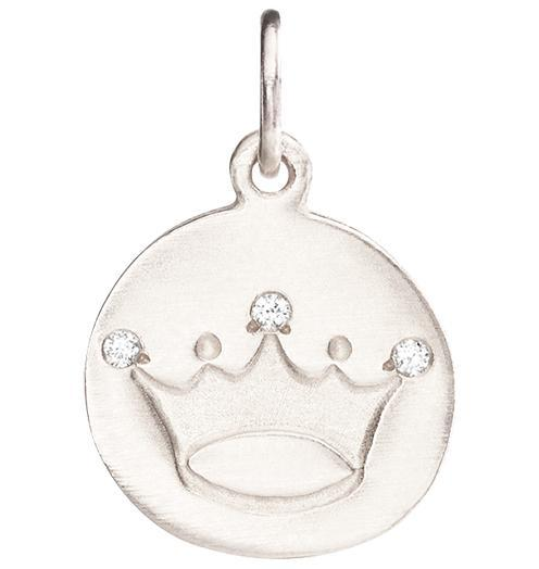 Crown Disk Charm Pave Diamonds - 14k White Gold - Jewelry - Helen Ficalora - 2