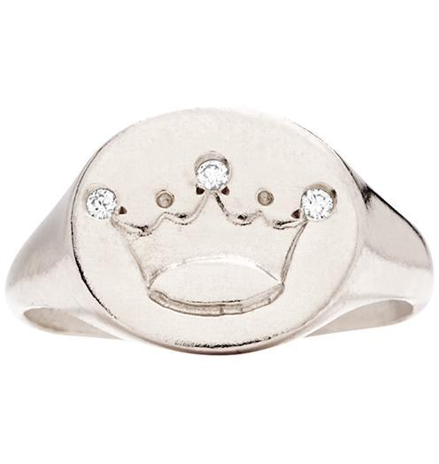 Crown Signet Ring With 3 Diamonds - 14k White Gold / 5 - Jewelry - Helen Ficalora - 2