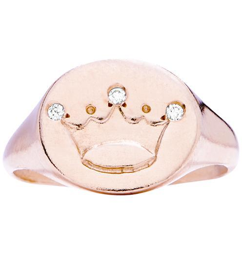 Crown Signet Ring With 3 Diamonds - 14k Pink Gold / 5 - Jewelry - Helen Ficalora - 3