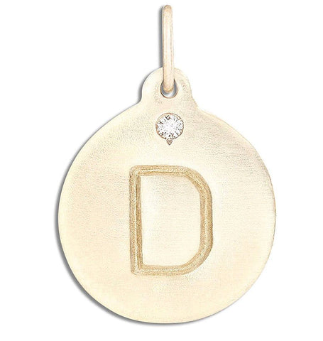 """D"" Alphabet Charm With Diamond Jewelry Helen Ficalora 14k Yellow Gold  For Necklaces And Bracelets"