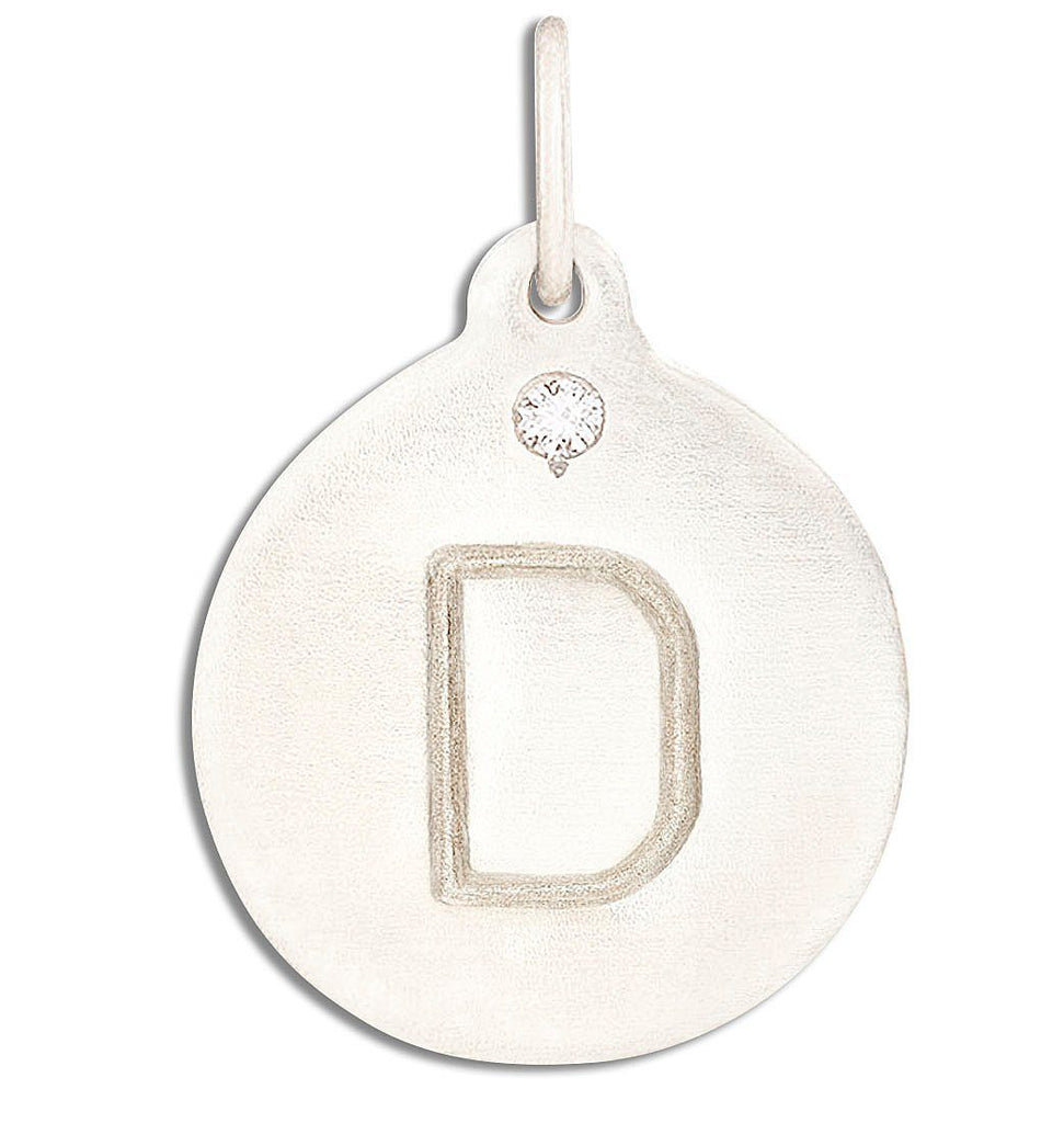 """D"" Alphabet Charm With Diamond - 14k White Gold - Jewelry - Helen Ficalora - 2"