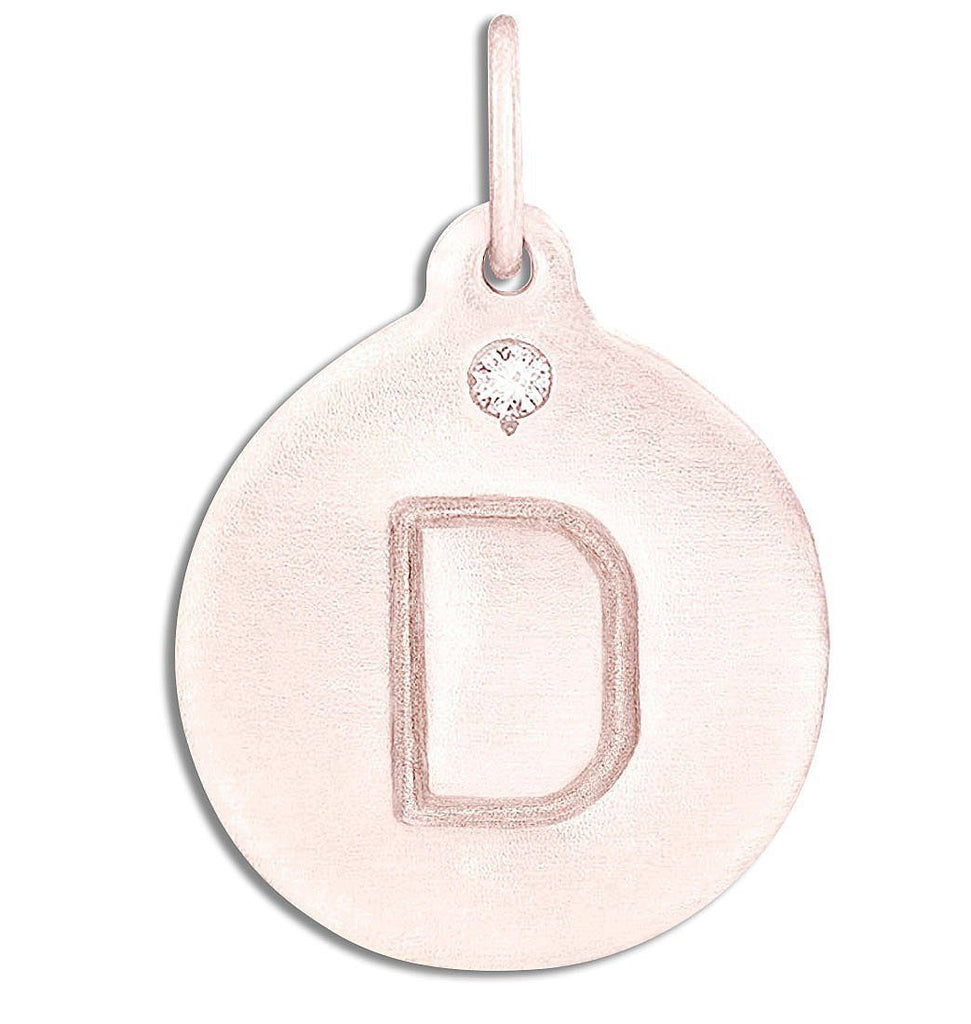 """D"" Alphabet Charm With Diamond - 14k Pink Gold - Jewelry - Helen Ficalora - 3"