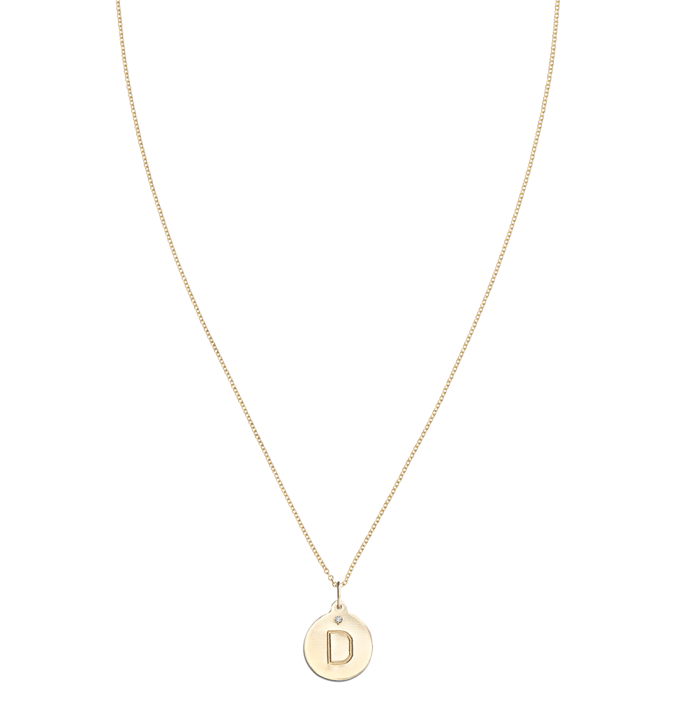 """D"" Alphabet Charm With Diamond -  - Jewelry - Helen Ficalora - 5"