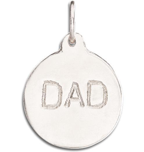 """Dad"" Disk Charm Jewelry Helen Ficalora 14k White Gold"