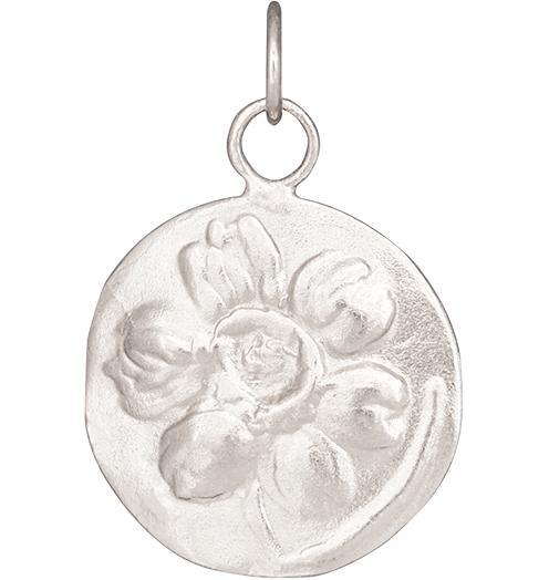 Daffodil Repouss̩e Charm - 14k White Gold - Jewelry - Helen Ficalora - 2