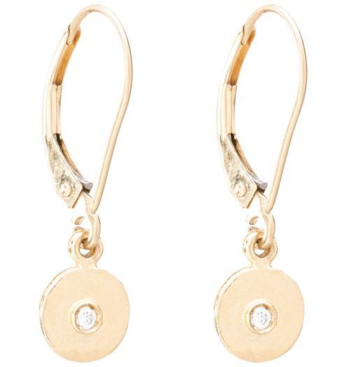 Dangle Disk Earrings With Diamond - 14k Yellow Gold - Jewelry - Helen Ficalora