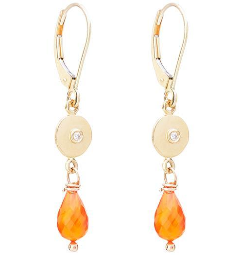 Dangle Disk Earrings With Diamond And Carnelian - 14k Yellow Gold - Jewelry - Helen Ficalora
