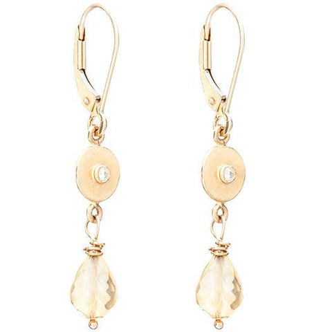 Dangle Disk Earrings With Diamond And Citrine - 14k Yellow Gold - Jewelry - Helen Ficalora