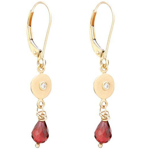 Dangle Disk Earrings With Diamond And Garnet - 14k Yellow Gold - Jewelry - Helen Ficalora