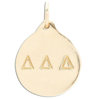 """Delta Delta Delta"" Disk Charm Jewelry Helen Ficalora 14k Yellow Gold For Necklaces And Bracelets"