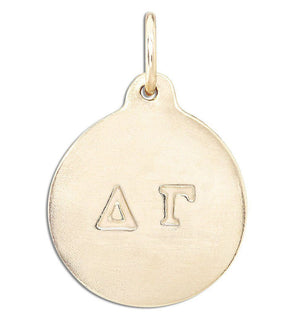 """Delta Gamma"" Disk Charm Jewelry Helen Ficalora 14k Yellow Gold For Necklaces And Bracelets"
