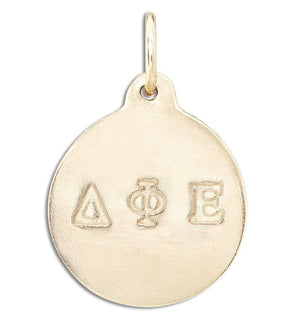 """Delta Phi Epsilon"" Disk Charm Jewelry Helen Ficalora 14k Yellow Gold For Necklaces And Bracelets"