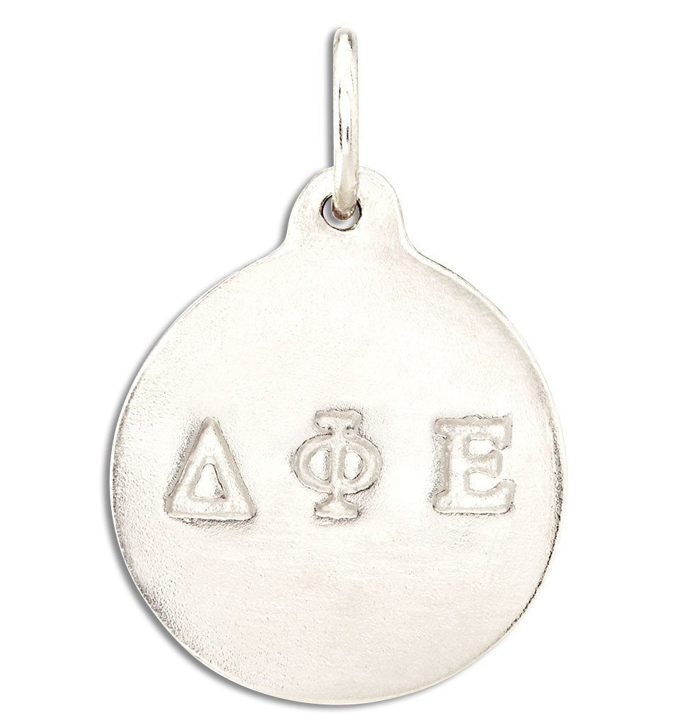"""Delta Phi Epsilon"" Disk Charm Jewelry Helen Ficalora 14k White Gold For Necklaces And Bracelets"