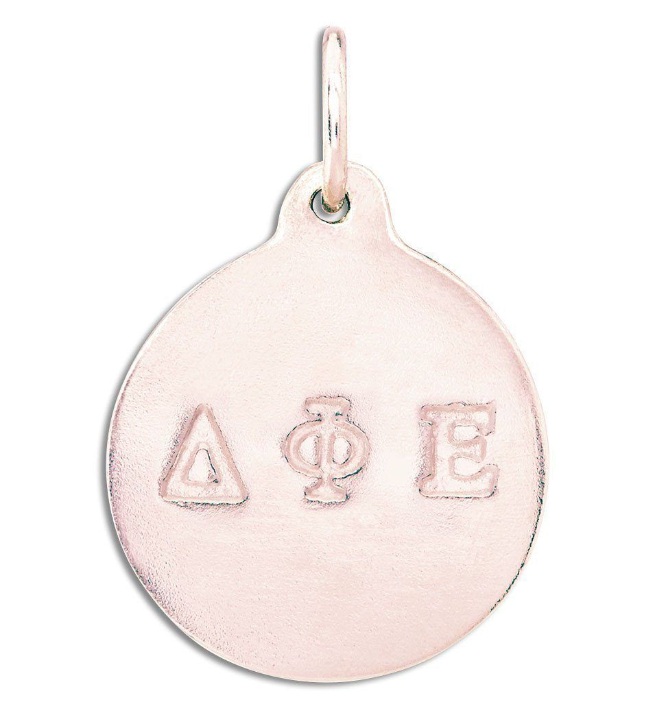 """Delta Phi Epsilon"" Disk Charm Jewelry Helen Ficalora 14k Pink Gold For Necklaces And Bracelets"