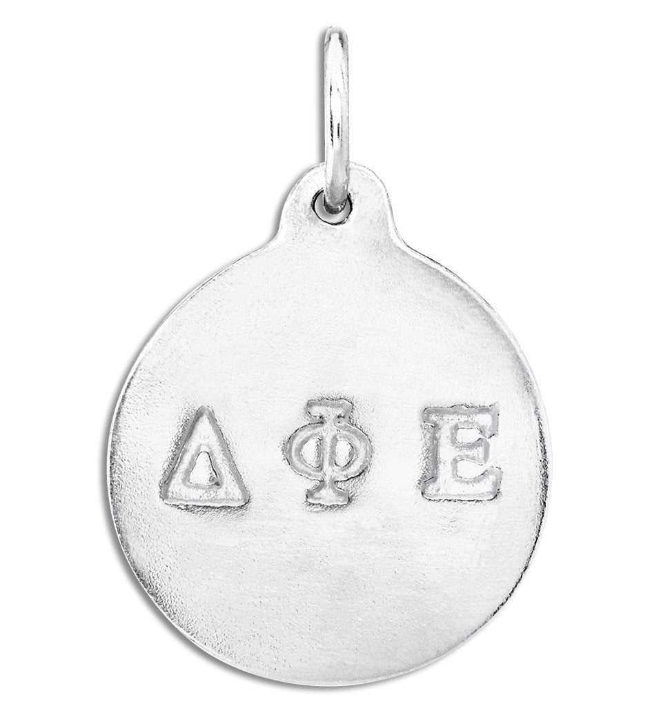 """Delta Phi Epsilon"" Disk Charm Jewelry Helen Ficalora Sterling Silver For Necklaces And Bracelets"
