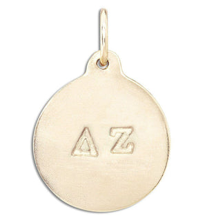 """Delta Zeta"" Disk Charm Jewelry Helen Ficalora 14k Yellow Gold For Necklaces And Bracelets"