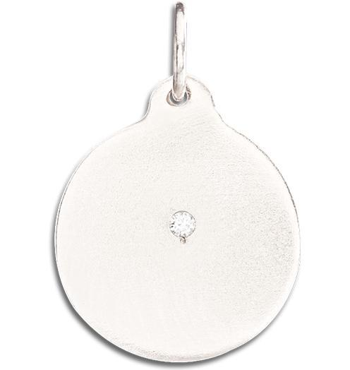 Disk Charm With Diamond - 14k White Gold - Jewelry - Helen Ficalora - 2