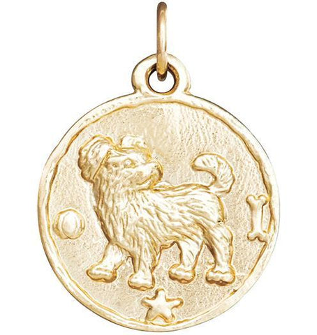 Dog Coin Charm - 14k Yellow Gold - Jewelry - Helen Ficalora - 1