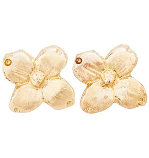 Dogwood Stud Earrings Jewelry Helen Ficalora 14k Yellow Gold