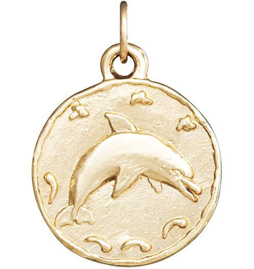 Dolphin Coin Charm - 14k Yellow Gold - Jewelry - Helen Ficalora - 1