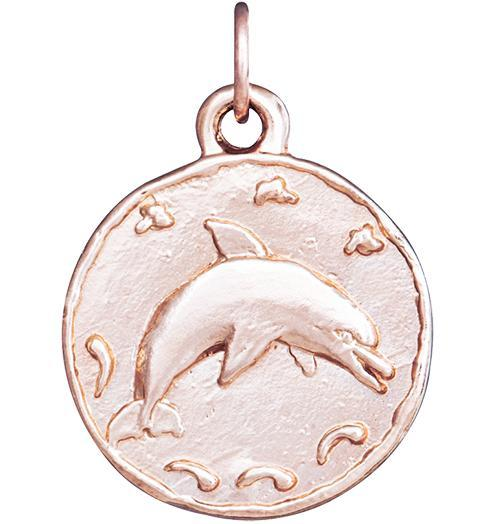 Dolphin Coin Charm - 14k Pink Gold - Jewelry - Helen Ficalora - 3
