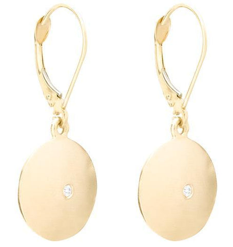 Domed Dangle Disk Earrings With Diamond - 14k Yellow Gold - Jewelry - Helen Ficalora