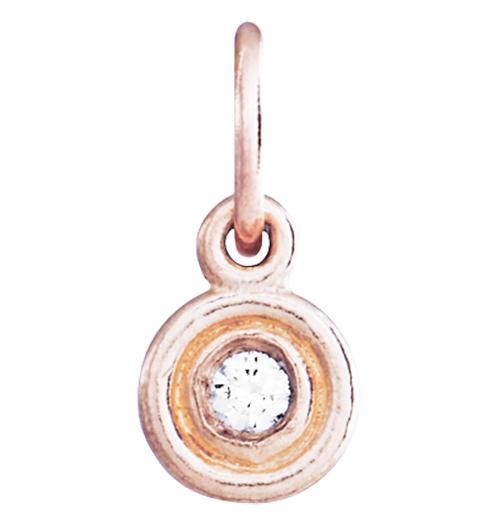 Double Ring Disk Charm With Diamond - 14k Pink Gold - Jewelry - Helen Ficalora - 3