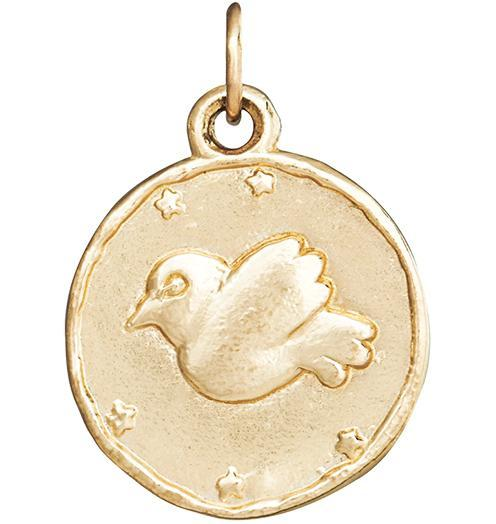 Dove Coin Charm - 14k Yellow Gold - Jewelry - Helen Ficalora - 1