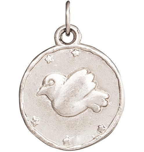 Dove Coin Charm - 14k White Gold - Jewelry - Helen Ficalora - 2