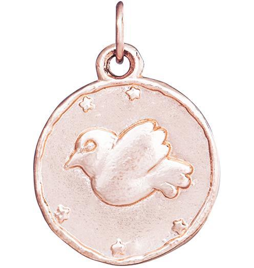 Dove Coin Charm - 14k Pink Gold - Jewelry - Helen Ficalora - 3