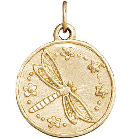 Dragonfly Coin Charm - 14k Yellow Gold - Jewelry - Helen Ficalora - 1