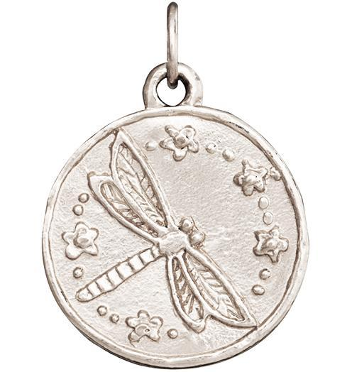 Dragonfly Coin Charm - 14k White Gold - Jewelry - Helen Ficalora - 2