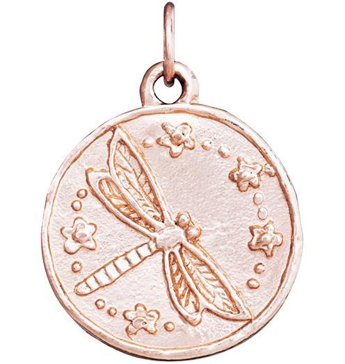 Dragonfly Coin Charm - 14k Pink Gold - Jewelry - Helen Ficalora - 3