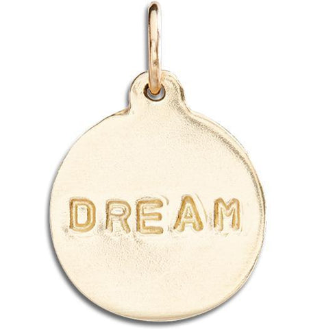 """Dream"" Disk Charm Jewelry Helen Ficalora 14k Yellow Gold For Necklaces And Bracelets"