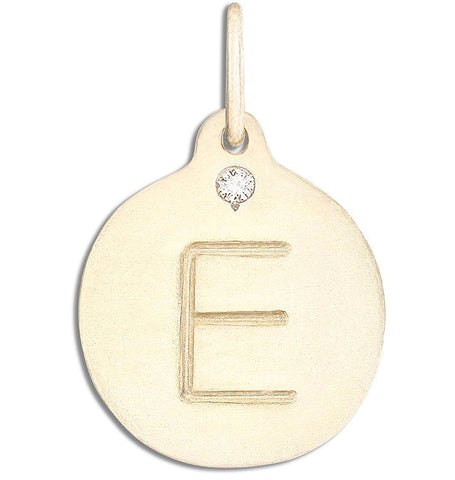"""E"" Alphabet Charm With Diamond - 14k Yellow Gold - Jewelry - Helen Ficalora - 1"