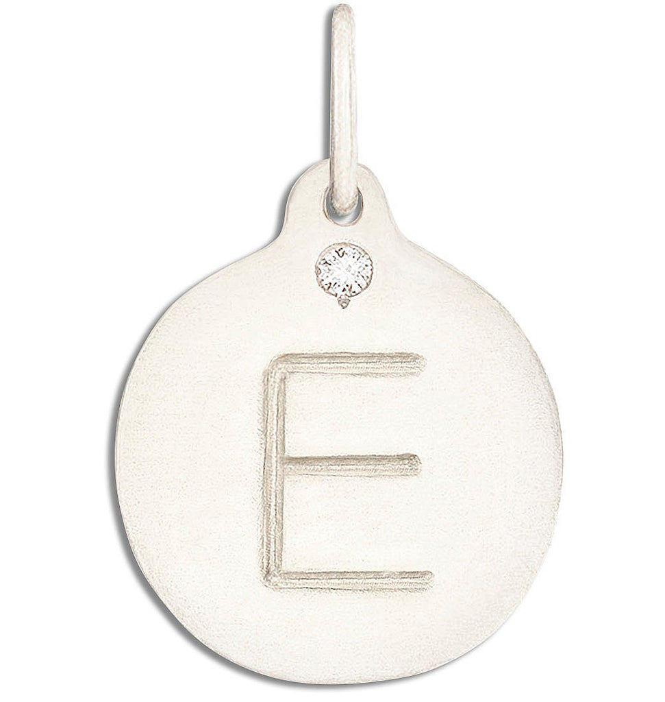 """E"" Alphabet Charm With Diamond - 14k White Gold - Jewelry - Helen Ficalora - 2"