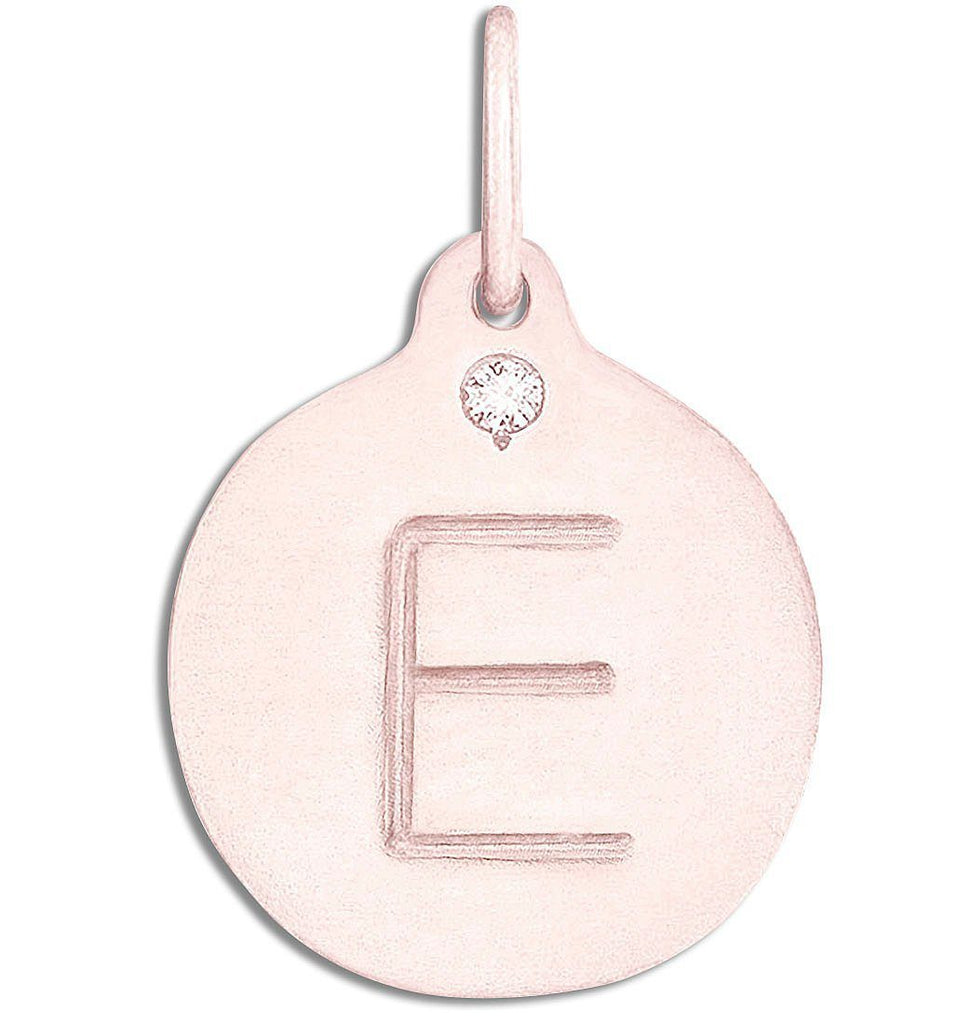 """E"" Alphabet Charm With Diamond - 14k Pink Gold - Jewelry - Helen Ficalora - 3"