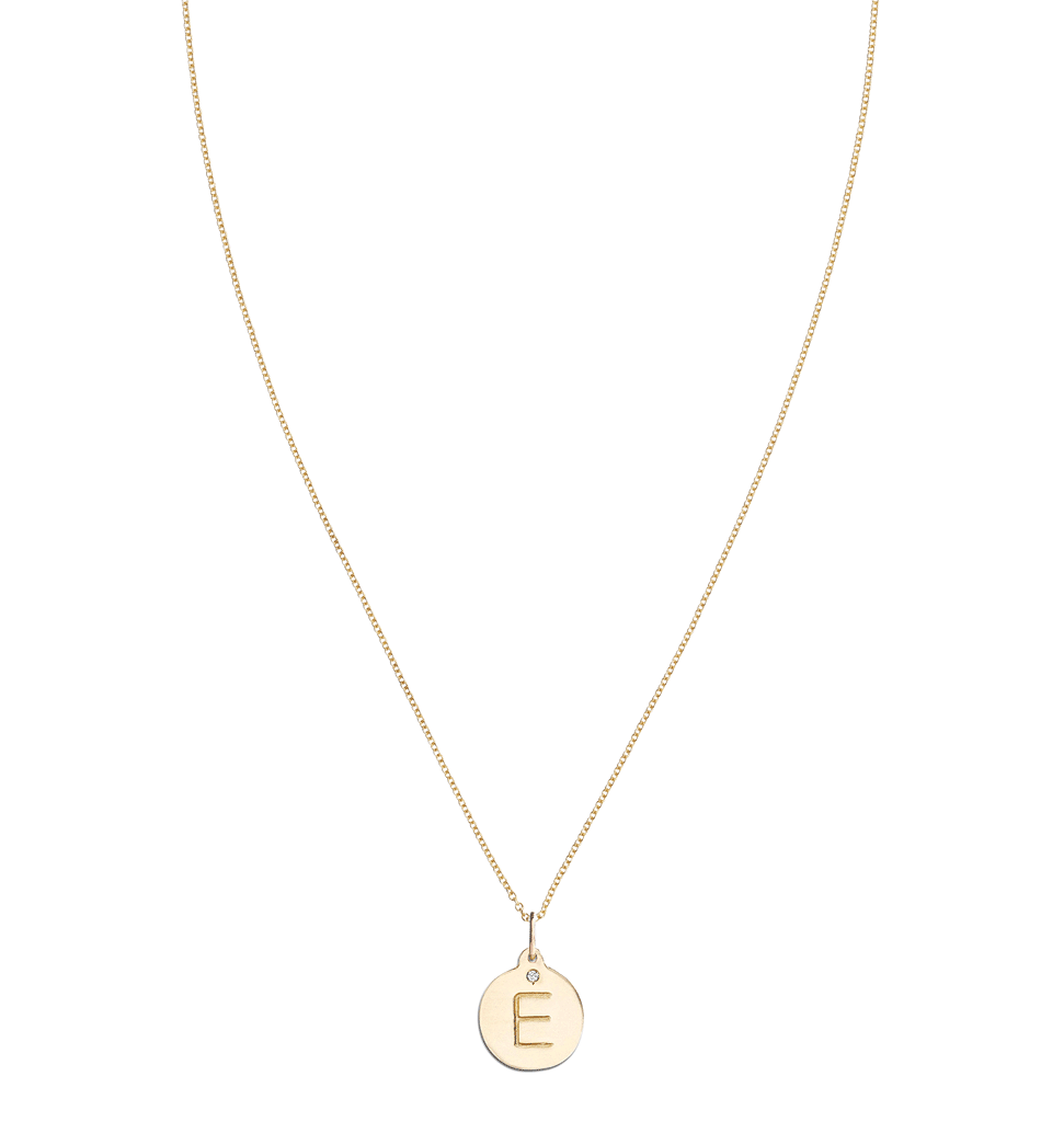 """E"" Alphabet Charm With Diamond -  - Jewelry - Helen Ficalora - 5"