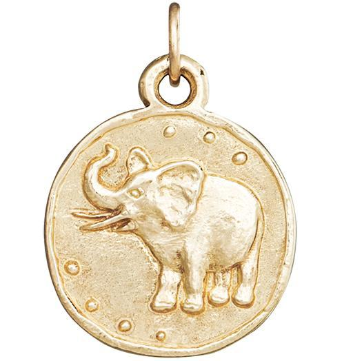 Elephant Coin Charm - 14k Yellow Gold - Jewelry - Helen Ficalora - 1
