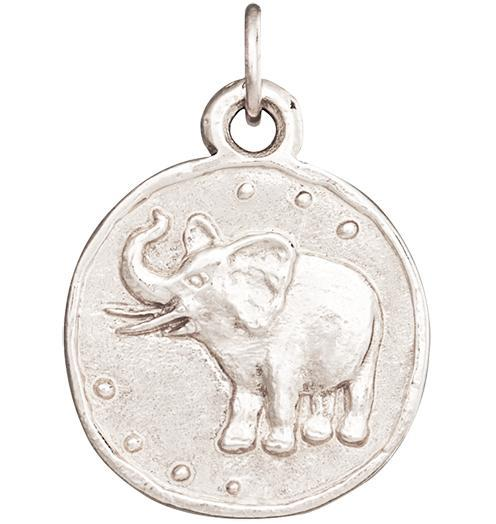 Elephant Coin Charm - 14k White Gold - Jewelry - Helen Ficalora - 2