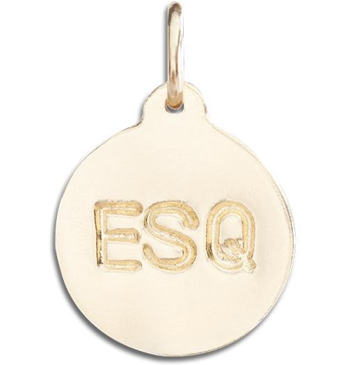 """ESQ"" Disk Charm - 14k Yellow Gold - Jewelry - Helen Ficalora - 1"