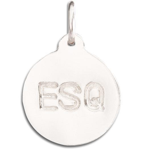 """ESQ"" Disk Charm - 14k White Gold - Jewelry - Helen Ficalora - 2"