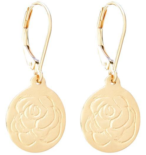 Etched Rose Dangle Earrings - 14k Yellow Gold - Jewelry - Helen Ficalora - 1