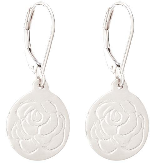 Etched Rose Dangle Earrings - 14k White Gold - Jewelry - Helen Ficalora - 2