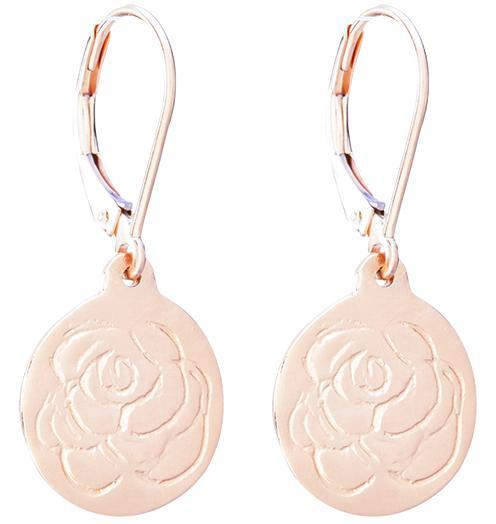 Etched Rose Dangle Earrings - 14k Pink Gold - Jewelry - Helen Ficalora - 3