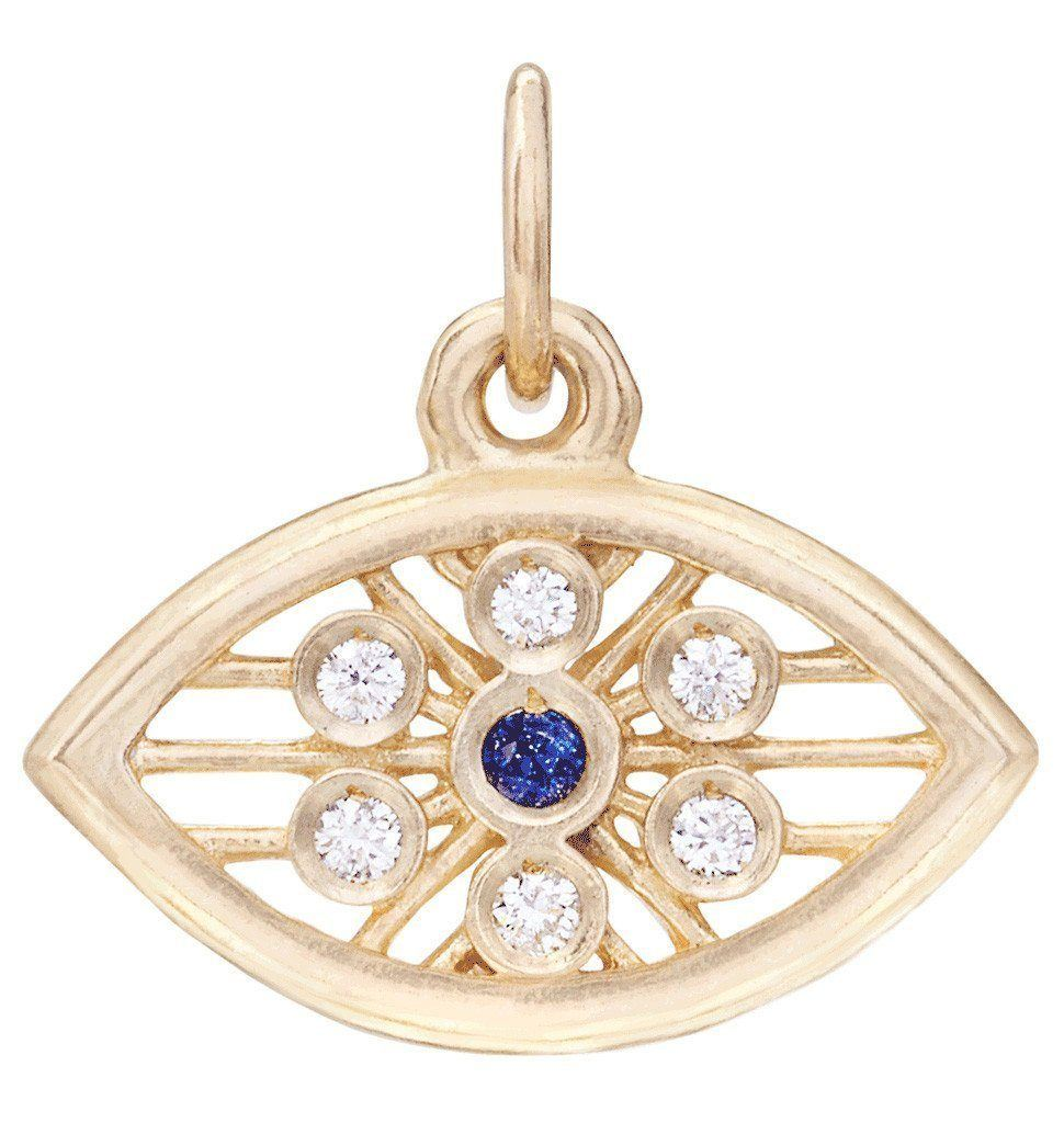 Evil Eye Mini Charm With Diamonds And Blue Sapphire Jewelry Helen Ficalora 14k Yellow Gold For Necklaces And Bracelets
