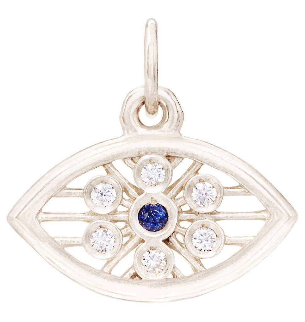Evil Eye Mini Charm With Diamonds And Blue Sapphire Jewelry Helen Ficalora 14k White Gold For Necklaces And Bracelets